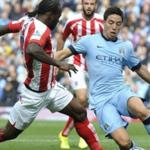 The players of Manchester city lost to Stoke in the championship game of England