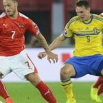 Players of the Austrian national team played a draw with Sweden in qualifying game for Euro 2016