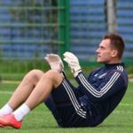 The Spartak goalkeeper Artem Rebrov training with the main squad in the national team of Russia on football